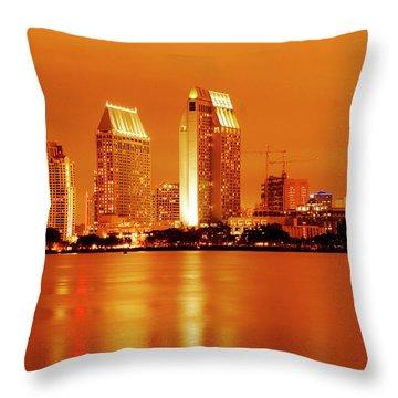 Bronze San Diego Skyline Throw Pillow