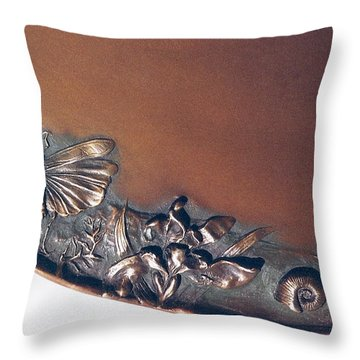 Bronze Tray Detail With Locust Throw Pillow by Dawn Senior-Trask