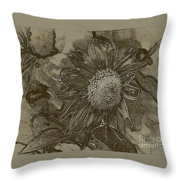 Bronzed Out Sunflower Throw Pillow