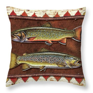 Brook And Brown Trout Lodge Throw Pillow