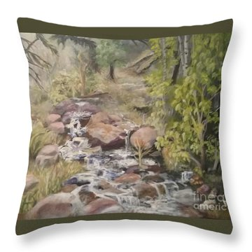 Throw Pillow featuring the painting Brook by Saundra Johnson