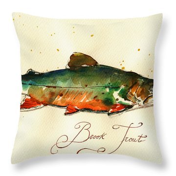 Brook Trout Art Throw Pillow