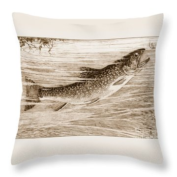 Throw Pillow featuring the photograph Brook Trout Going After A Fly by John Stephens