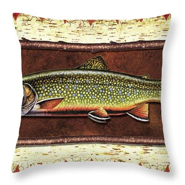 Brook Trout Lodge Throw Pillow