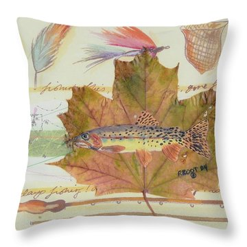 Brook Trout On Fly #2 Throw Pillow