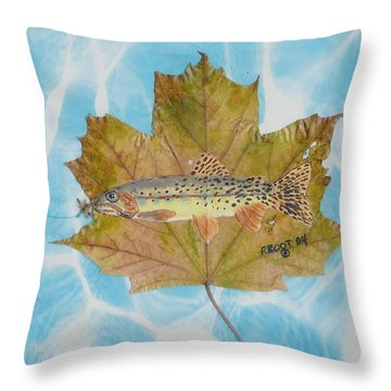 Brook Trout On Fly Throw Pillow