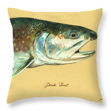Brook Trout Watercolor Throw Pillow