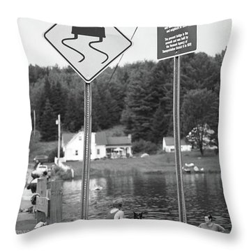 Throw Pillow featuring the photograph Brookfield, Vt - Floating Bridge 2 Bw by Frank Romeo