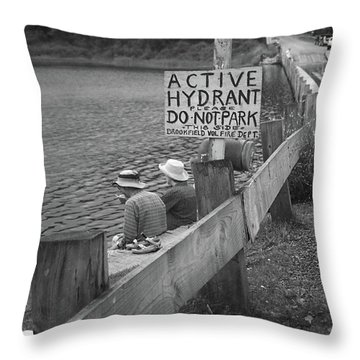 Throw Pillow featuring the photograph Brookfield, Vt - Floating Bridge 4 Bw by Frank Romeo