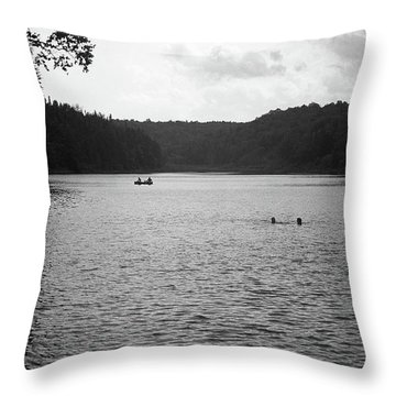 Throw Pillow featuring the photograph Brookfield, Vt - Swimming Hole Bw 2 by Frank Romeo