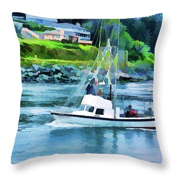 Throw Pillow featuring the photograph Brookings Boat Oil Painting by Wendy McKennon