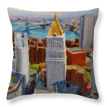 Brooklyn And East River Bridges From Foley Square Throw Pillow