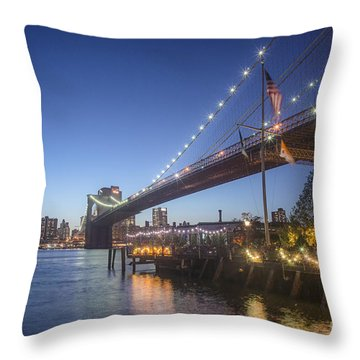 Throw Pillow featuring the photograph Brooklyn Brdige New York  by Juergen Held