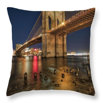 Throw Pillow featuring the photograph Brooklyn Bridge At Night by Mark Dodd