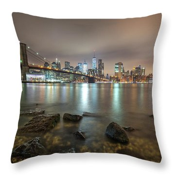 Throw Pillow featuring the photograph Brooklyn Bridge At Sunrise  by Emmanuel Panagiotakis