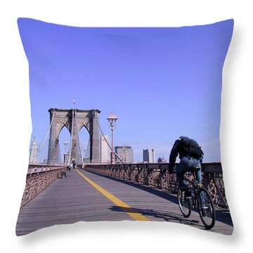 Brooklyn Bridge Bicyclist Throw Pillow
