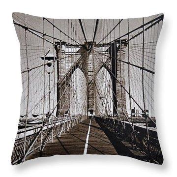 Brooklyn Bridge By Art Farrar Photographs, Ny 1930 Throw Pillow