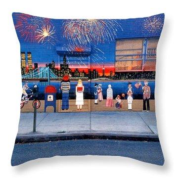 Brooklyn Bridge Fireworks Throw Pillow