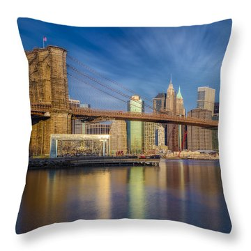 Throw Pillow featuring the photograph Brooklyn Bridge From Dumbo by Susan Candelario
