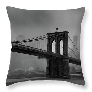 Brooklyn Bridge In A Storm 2 Throw Pillow