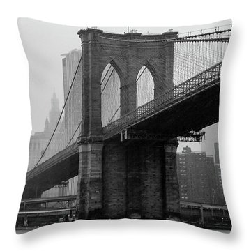 Brooklyn Bridge In A Storm Throw Pillow