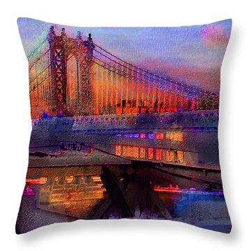 Throw Pillow featuring the digital art Brooklyn Bridge by Iowan Stone-Flowers