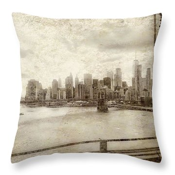 Throw Pillow featuring the painting Brooklyn Bridge by Joan Reese