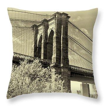 Brooklyn Bridge Throw Pillow by John Hoey