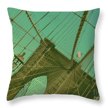 Brooklyn Bridge Throw Pillow by Louise Fahy