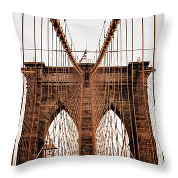 Throw Pillow featuring the photograph Brooklyn Bridge by MGL Meiklejohn Graphics Licensing