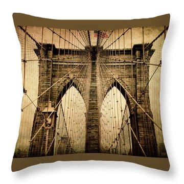 Brooklyn Bridge Nostalgia Throw Pillow
