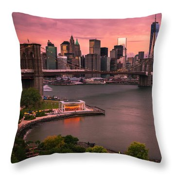 Brooklyn Bridge Over New York Skyline At Sunset Throw Pillow by Ranjay Mitra