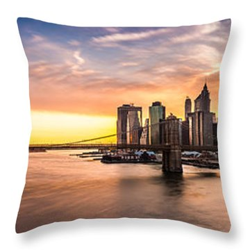 Brooklyn Bridge Panorama Throw Pillow by Mihai Andritoiu
