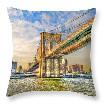 Brooklyn Bridge Throw Pillow by Randy Aveille