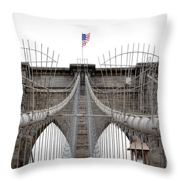 Throw Pillow featuring the photograph Brooklyn Bridge Top by Peter Simmons