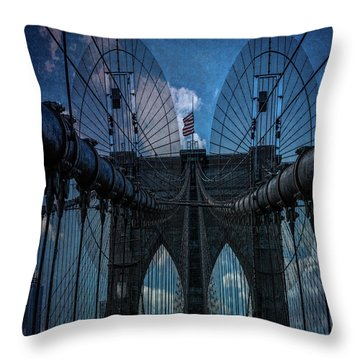 Throw Pillow featuring the photograph Brooklyn Bridge Webs by Chris Lord