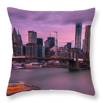 Throw Pillow featuring the photograph Brooklyn Bridge World Trade Center In New York City by Ranjay Mitra
