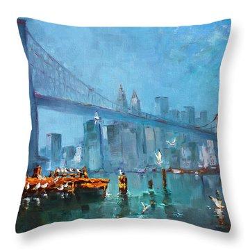 Brooklyn Bridge Throw Pillow by Ylli Haruni