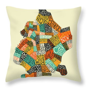 Brooklyn Neighborhoods Map Typography Throw Pillow
