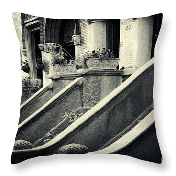 Brooklyn Park Slope Stoops Throw Pillow by Sabine Jacobs