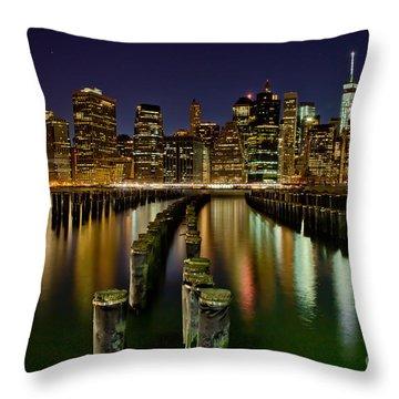 Brooklyn Pier At Night Throw Pillow