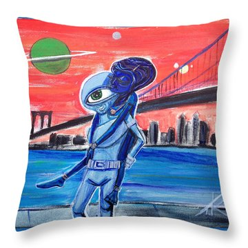 Throw Pillow featuring the painting Brooklyn Play Date by Similar Alien