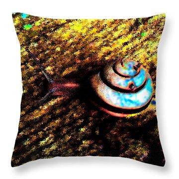 Throw Pillow featuring the digital art Brooklyn Snail by Iowan Stone-Flowers