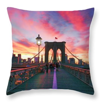 Brooklyn Sunset Throw Pillow by Rick Berk