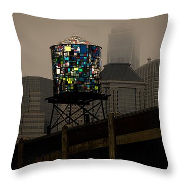 Throw Pillow featuring the photograph Brooklyn Water Tower by Chris Lord