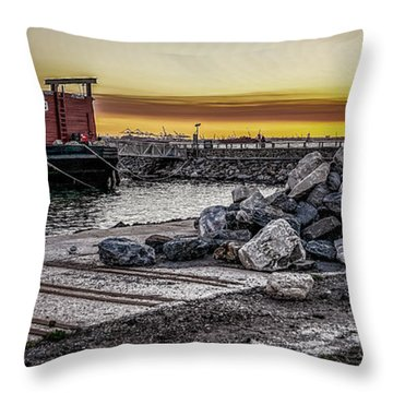 Brooklyn Waterfront Sunset Throw Pillow