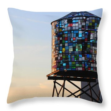 Brooklyn's Glowing Glass Water Tower - Public Art Throw Pillow