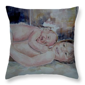 Brother And Sister Play Throw Pillow