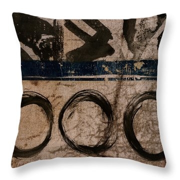 Brown And Blue Vibe Throw Pillow