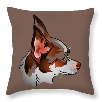 Throw Pillow featuring the digital art Brown And White Chihuahua In Profile by MM Anderson